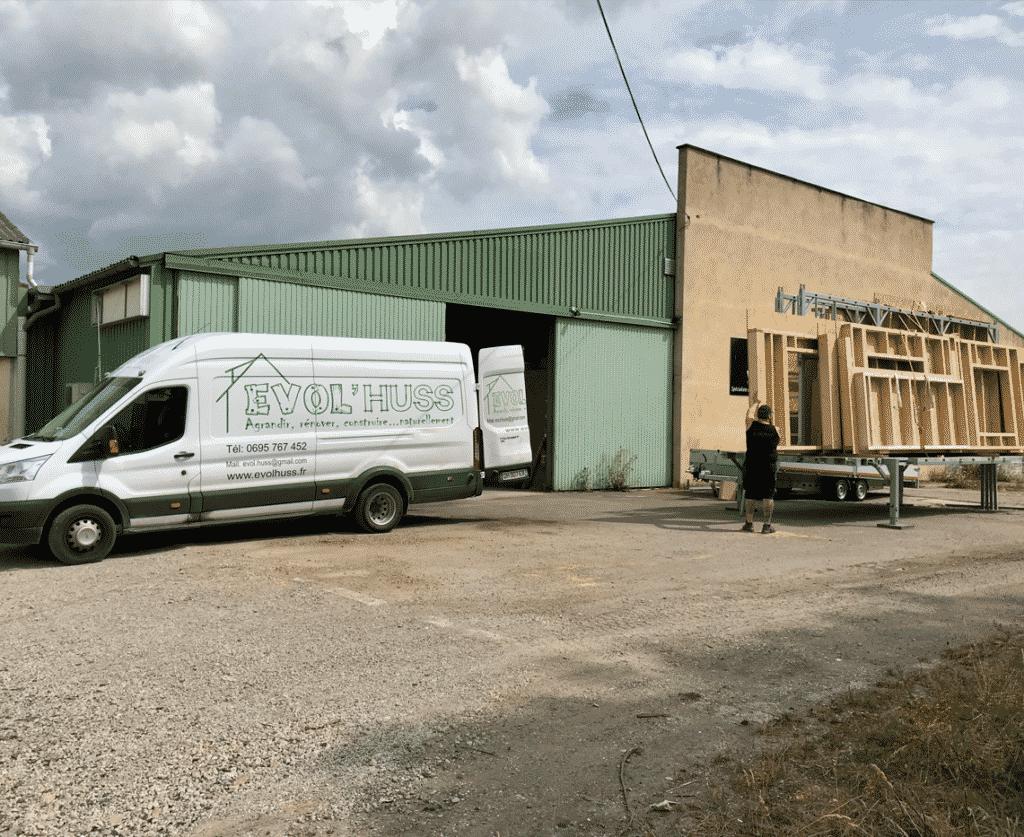 Préparation transport murs ossature bois Evol'huss